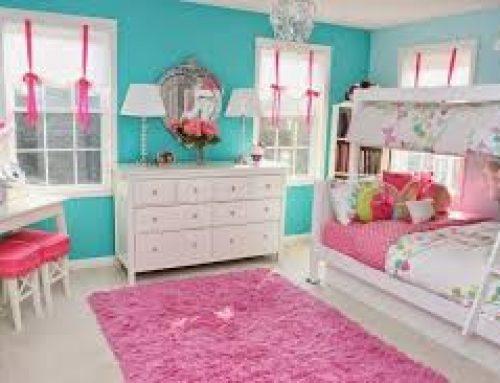 Desain Kombinasi 2 Warna Cat Kamar Tidur Biru Pink Untuk Perempuan